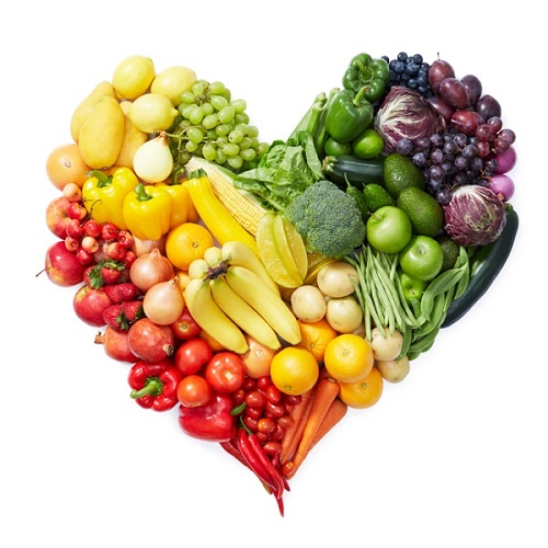heart shape by various type of fruits and vegetables